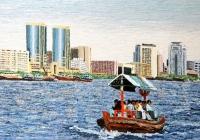 City Route Dubai  Cunningham oil on canvas 120 x 80 cm