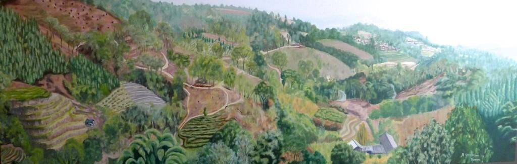 Hillside Yunnan panorama Stage C Cunningham 150 x 50 cm