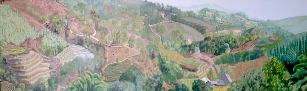 Hillside Yunnan panorama stage 2 Cunningham 150 x 50cm