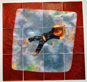 Fion Gunn - Falling on Beijing, paper, acrylic, gold leaf, 220x180cm