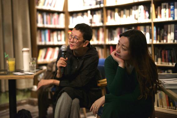 Artists QingQing and Li Xinmo at the Bookworm presentation
