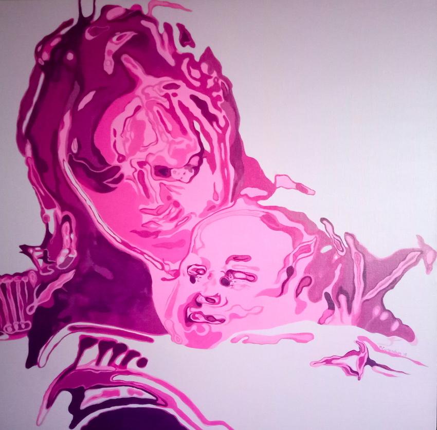 Week 40: In Her Eyes, acrylic on canvas 100x100cm 倪芙瑞莲Niamh Cunningham